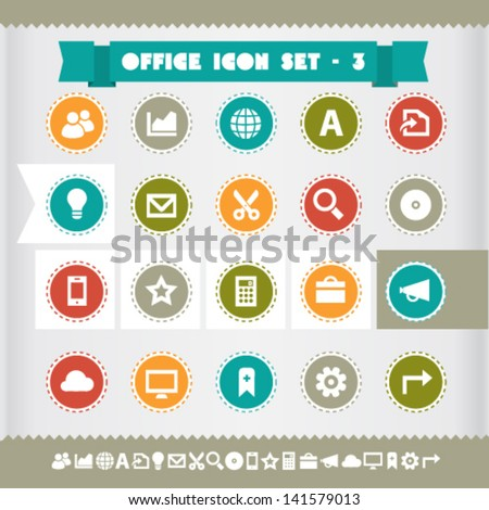 Modern flat design vintage office and web icons set 3, on circles - stock vector