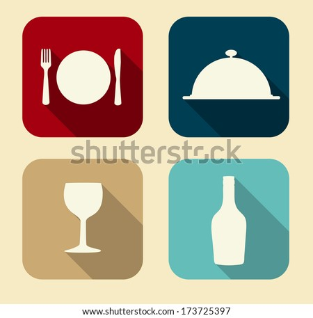 Modern Flat Food Icon Set for Web and Mobile Application in Stylish Colors Vector Illustration  - stock vector
