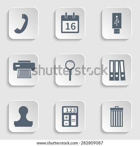 Modern flat icon stationery set, calendar page, usb flash drive, handset  phone, printer icon, fax, magnify icon, binders, stamp, clipboard, trash can icon, trash bin, calculator - stock vector