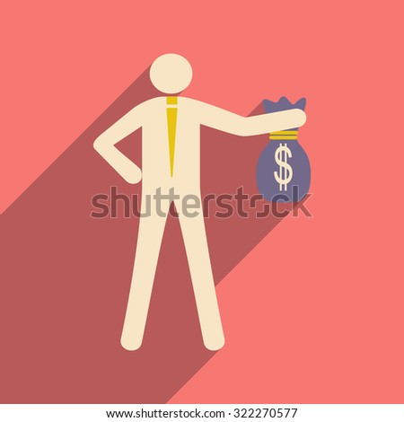 Modern flat icon with shadow man with bag of money  - stock vector
