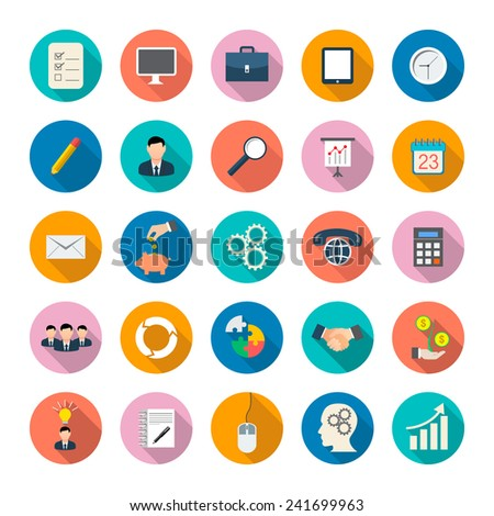 Modern flat icons vector collection with long shadow effect in stylish colors of business elements, office equipment and marketing items. - stock vector