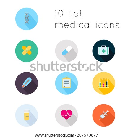 Modern flat icons vector collection with long shadow effect in stylish colors of medical theme. Isolated on white background. - stock vector