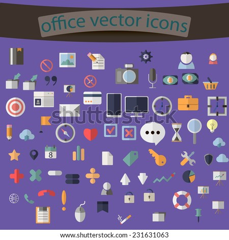 Modern flat icons vector collection with shadow effect in stylish colors of business elements, office equipment and marketing items. Isolated on purple background. - stock vector