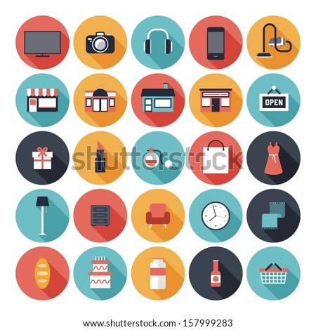 Modern flat icons vector set with long shadow effect in stylish colors of shopping objects and items.  Isolated on white background.  - stock vector