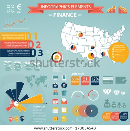 Modern flat infographics set. USA Map and Information Graphics with finance icons. Easy to edit - stock vector