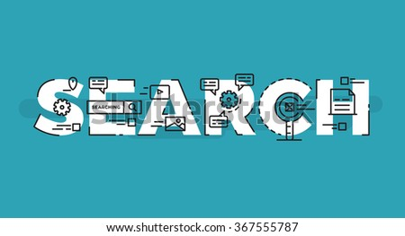 Modern Flat line design concept of Social Media and Social Network. Flat line design for Website Element ,Web Template , Web Banner , Book Cover and Corporate documents with editable stroke. - stock vector
