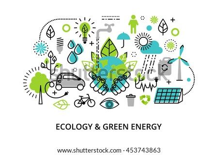 Modern flat thin line design vector illustration, infographic concept of ecology problem, generation and saving green energy  for graphic and web design - stock vector