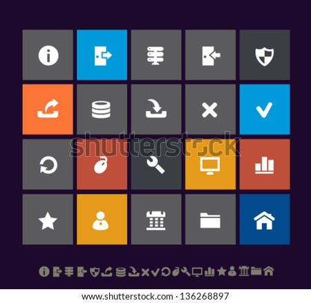 Modern flat ui server icons for mobile devices and contemporary interfaces - stock vector
