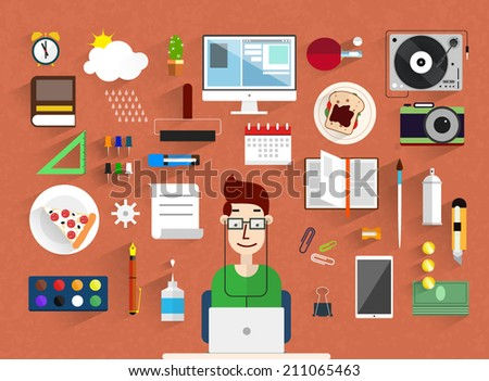 Modern flat vector avatars.Workplace - flat style.Flat design vector illustration of modern creative office workspace,workplace with computer. Flat minimalistic style and color with long shadows. - stock vector