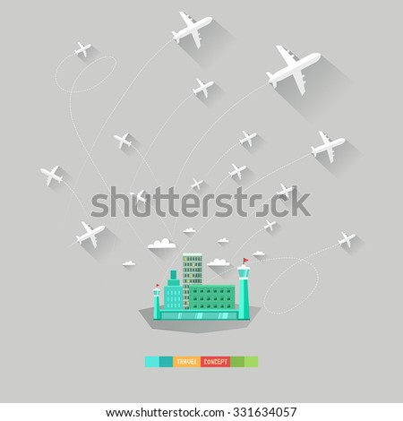 Modern flat vector background with airport and airplanes. Traveling concept. Good for web, mobile apps, infographics. - stock vector