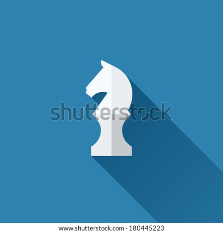 Modern flat vector chess knight icon with long shadow - stock vector