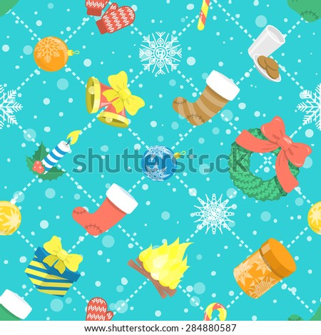 Modern flat vector colorful seamless holiday pattern with Christmas icons, bells, wreath, stockings, gift boxes, candle, balls, snowflakes on snowy background. Wrapping paper, invitation card design  - stock vector