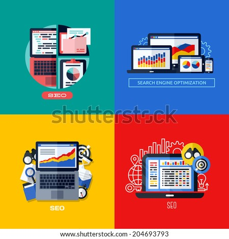 Modern flat vector concepts of search engine optimization (SEO). Icons set for websites, mobile apps and printed materials - stock vector