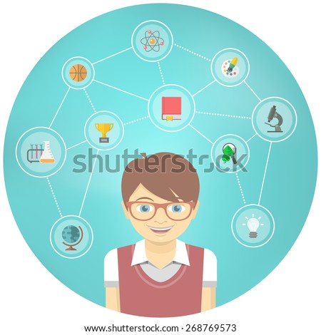 Modern flat vector conceptual illustration of a geek boy with icons of his different educational interests. Early childhood program concept. School infographics - stock vector