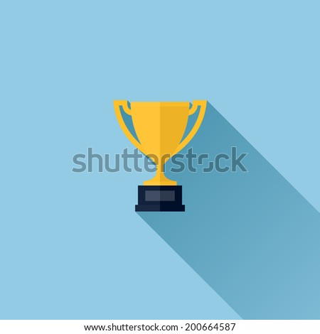 Modern flat vector icon of gold winner trophy cup on blue background - stock vector