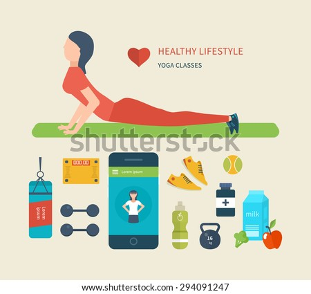 Modern flat vector icons of healthy lifestyle, fitness and physical activity. Diet, exercising in the gym, training equipment and clothing. Concept of healthy lifestyle.  Young woman practices yoga. - stock vector