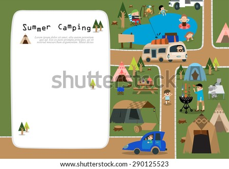Modern flat vector illustration featuring a family enjoying camping.  For summer vacation. Men fishing by a lake and cooking and kids swimming. Various tents and tables set up on the green grass. - stock vector
