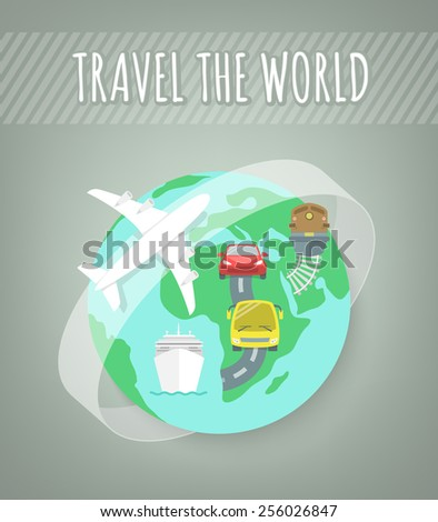 Modern flat vector illustration of different types of transport for travel. Conceptual background with globe and icons of car, bus, train and airplane. International travel and transportation concept - stock vector