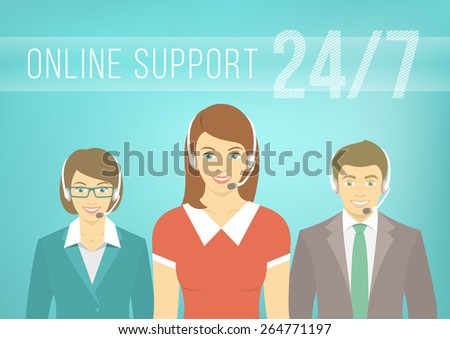 Modern flat vector illustration of young employees of call center support and help service, women and man, with headphones and inscription. Help desk online concept. - stock vector