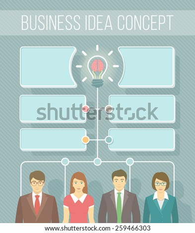 Modern flat vector infographics element for new business idea information, start up, collaboration or teamwork. Group of office workers in business suits. Brainstorming concept with speech bubbles - stock vector