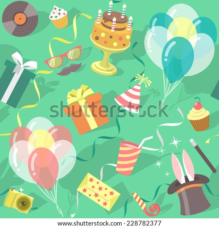 Modern flat vector seamless birthday party pattern with colorful icons of gift boxes, balloons, birthday cake, magic tricks, party hat etc. Invitation card, wrapping paper or website background design - stock vector