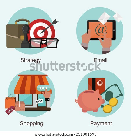 Modern flat vector set of business concepts in stylish colors - stock vector