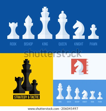 Modern flat vector set of chess icons. Chess pieces including king, queen, bishop, knight, rook, pawn - stock vector