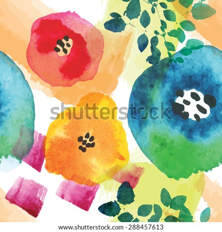 Modern floral seamless pattern in watercolor technique. Colorful vector illustration. - stock vector