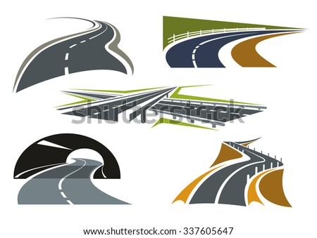 Modern freeway icons with overpass interchange, highway tunnel, bypass rural roads and mountain road over precipice. For travel or car trip design - stock vector
