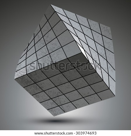 Modern galvanized stylish 3d construction created from squares, three-dimensional metallic twisted object. - stock vector