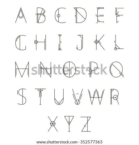 Modern geometric alphabet. Vector illustration isolated on white background. - stock vector