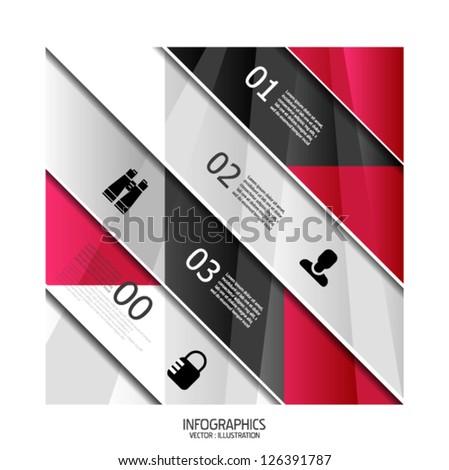 Modern geometric infographic banner template - stock vector