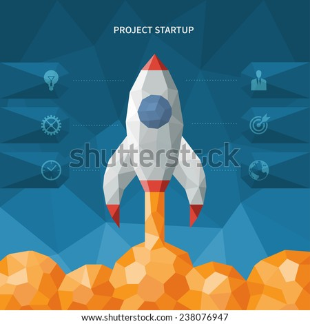 Modern geometric polygonal style new business project startup concept with launching rocket. Vector illustration - stock vector