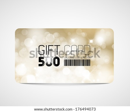 Modern gift card template - with golden flares and lights - stock vector