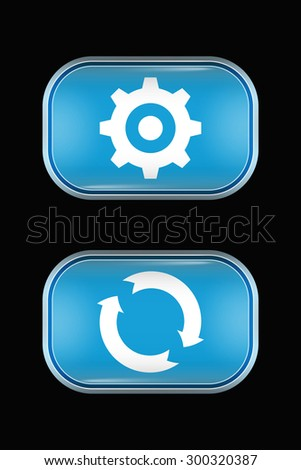 Modern Glass Buttons Settings Refresh. Rectangular Shape with Rounded Corners. Keypad. Push Button. Interface Icons - stock vector