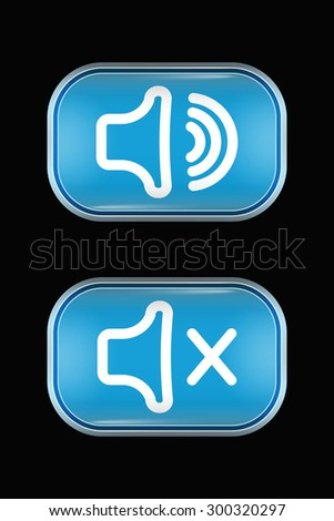Modern Glass Buttons Volume Mute. Rectangular Shape with Rounded Corners. Keypad. Push Button. Interface Icons - stock vector