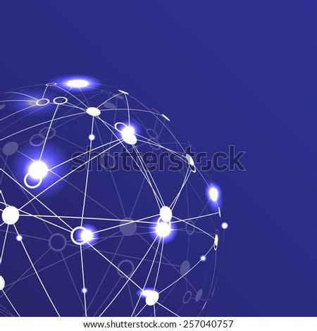 Modern globe connections network design, vector illustration - stock vector