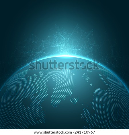 Modern Globe Network Vector Illustration | EPS10 Background - stock vector