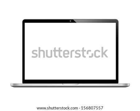 Modern glossy laptop isolated on white vector eps10  - stock vector