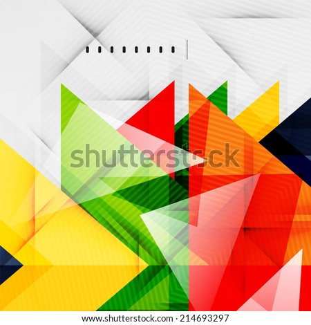 Modern glossy triangles business presentation background layout, web design template, figures for infographics - stock vector