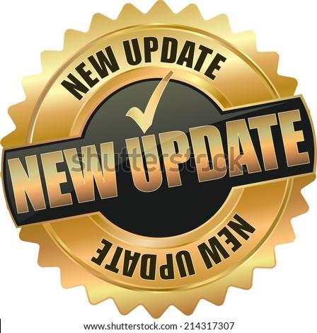 modern gold black new update vector eps10 badge sign - stock vector