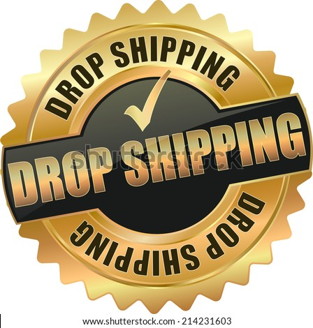 modern gold drop shipping vector eps10 badge sign - stock vector