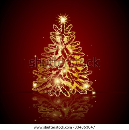Modern golden Christmas tree - Possible to create holiday cards and ornaments. - stock vector