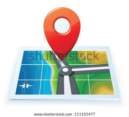Modern gps map icon - stock vector