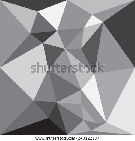 Modern Graphic Low Poly Gray Triangular Polygons Texture as Abstract Background Pattern - stock vector