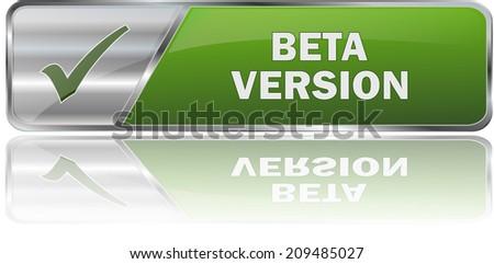 modern green beta version button - stock vector