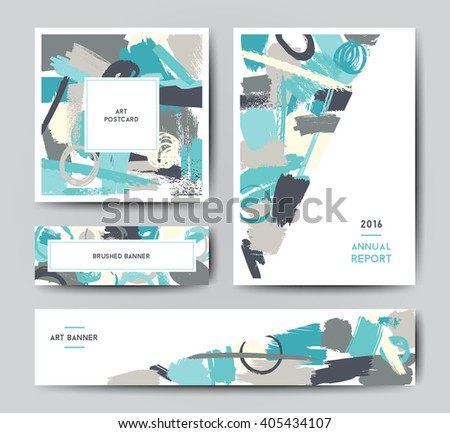 Modern grunge brush design templates, annual report, banner, art vector cards design in bright colors - stock vector