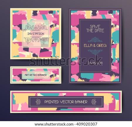 Modern grunge brush design templates, wedding invitation, banner, art vector cards design in bright colors - stock vector