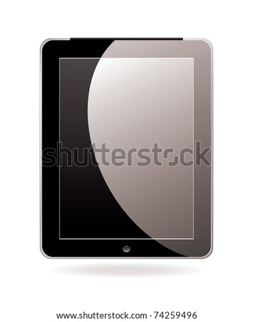 Modern hand held or laptop mobile computer with touch screen - stock vector