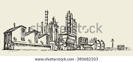 Modern heavy technical catalyst powerhouse rig mainstay building. Environment pollute, ecology concept symbol. Doodle freehand ink drawn background sketch in art retro style with space for text on sky - stock vector